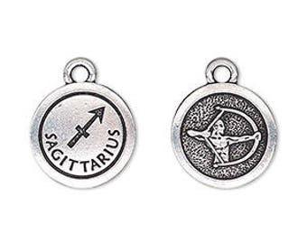 Sagittarius Charm, Antiqued Silver, Astrological Charm, Zodiac Charm, Pendant, 15mm, 1 Each, D1069