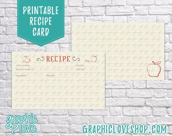 Printable Red Apple 3x5 Double Sided Recipe Card   Cooking, Pinterest, Wedding Shower  Digital JPG Files, Instant Dowload, File NOT Editable