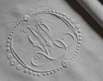 French antique pure linen embroidered bedsheet/pillow case - ML monogram