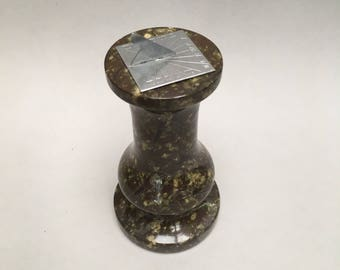 Vintage Cornish Serpentine Carved Miniature Desk Sundial paperweight sun dial marble