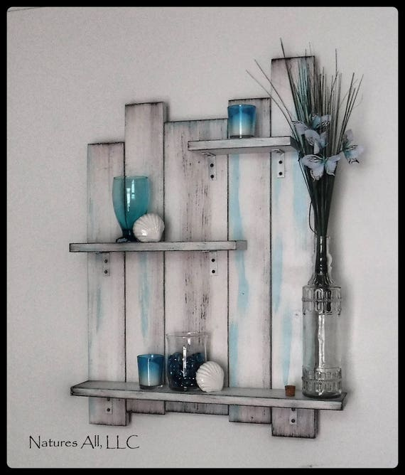 Bathroom Wall Shelf/Bathroom Wall Decor/Bathroom Decor/Rustic Wall Shelf For Bathroom/Rustic Wood Shelving/Distressed White And Blue