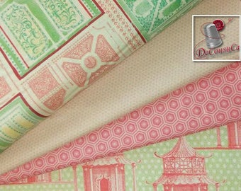 4 prints, Pagoda, green, pink, Bundle, 1 of each print, 100% coton quilt, ex. 4 FQ = 1 yard