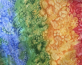 Hawaiian fabric, rainbow tropical print, fat quarter
