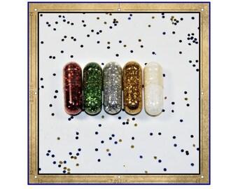 Taste of Christmas, Glitter Pills, Glittery Pills, Christmas Glitter, Christmas Spirit, Christmas Joy, Happy Pills, Wedding Favors, Gag Gift