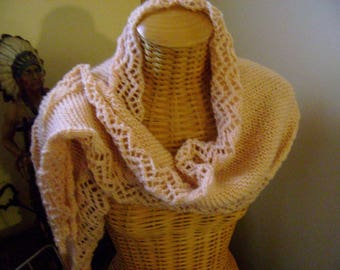 scarf knitted, round lace shawl, 1.66 m long, 31 cm at widest Middle ending in a point