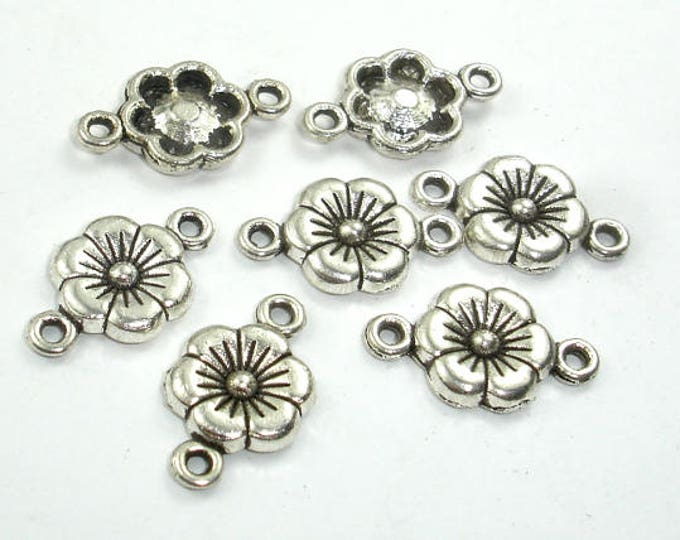 Metal Links, Flower Connector Links, Zinc Alloy, Antique Silver Tone, 10x18xmm, 30 pcs, Hole 1.4mm (006855009)
