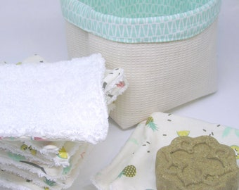 Washable wipes in their fabric 0 basket waste