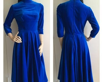 Petite Vintage Electric Blue Velvet Dress - Winter Fashion - 80s - 50s - xxs - FREE SHIPPING
