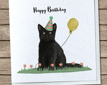 Cute Black Cat Birthday Greetings Card