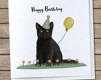 Cute Black Cat Birthday Greetings Card