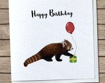 Cute Red Panda Birthday Card - Custom Option Avaliable