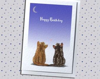 Cute Kittens Stargazing Birthday Love Anniversary Greetings Card - Cat Themed
