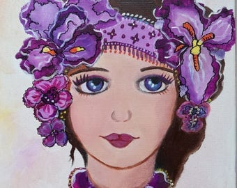 Eloise - little girl with Iris canvas face portrait