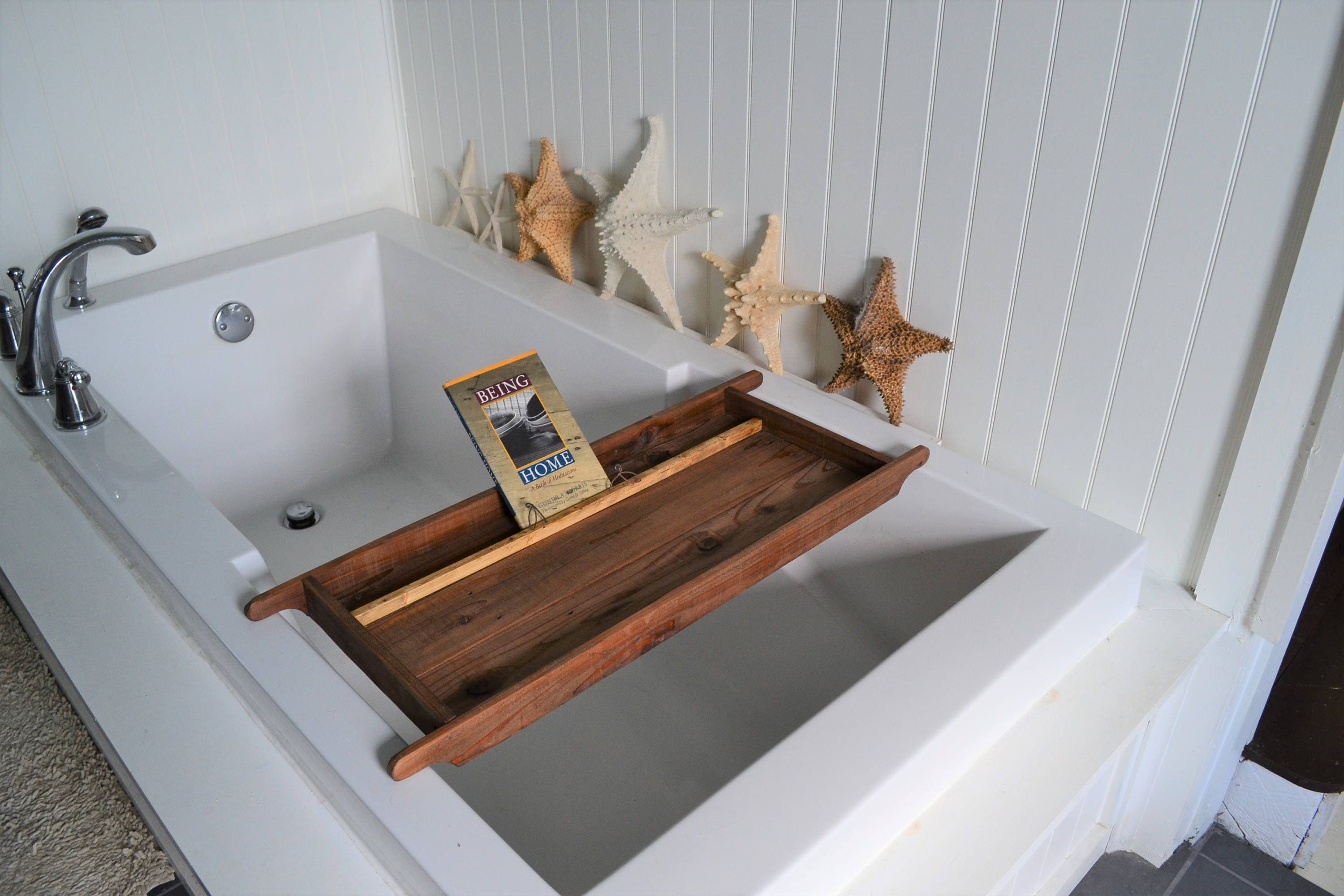 Bath Tray with Tablet or Book Holder , Made to Order , Recycled ...