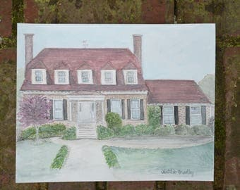 Home Watercolor Painting - Original Home Watercolor - Custom House Portrait Illustration - Wedding Gift