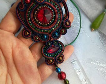 Sale!!!Soutache pendant handmade jewerly