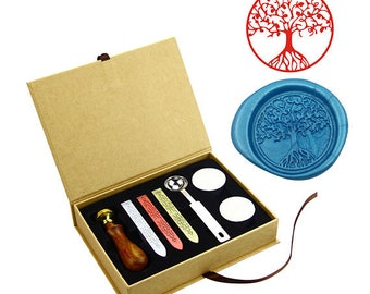 Custom  Wax Seal Stamp Kit Custom LOGO,TEXT,Photo Sealing Wax Stamps Kit-Brass Head Wooden Handle