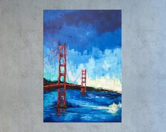 San Francisco art, Golden gate bridge, California Painting, City art, Abstract Cityscape, Painting on Canvas, Modern art, California art