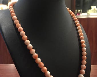 Light Pink Coral Graduated Bead Italian Vintage Necklace