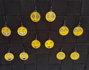 Emoji Earrings - Black Earrings - Yellow Earrings - Yellow Emoji Earrings - Emoji Jewelry - Emoji - Emoji Jewelry - Smiley Face Earrings