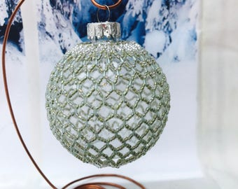 Christmas green decoration; christmas bauble; christmas tree ornament; victorian decoration; handmade ornament; beaded decoration