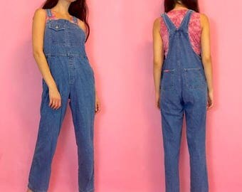 SUMMER SALE Vintage 90s Blue Jean Denim Long Pants Overalls Dungarees Romper One Piece
