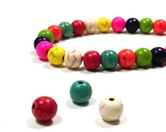 70 perles howlite rondes multicolores 6 mm