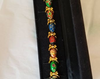 """Joan Rivers Faberge style Russian Egg with Bows 7-1/2"""" Bracelet"""