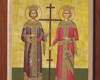 Saint Constantine and Helen.Christian orthodox icon.FREE SHIPPING