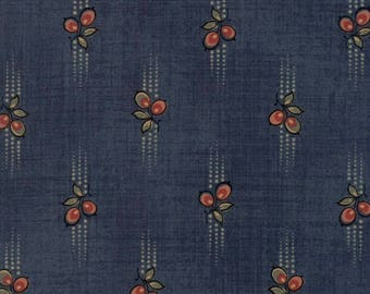 "Moda Fabric ""Graces Garden Teal Berry"" by Betsy Chutchian- One Yard Cut -Reproduction Fabric 1820-1860, Civil War, Teal Floral, 31552 15"