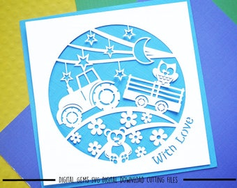 Tractor paper cut svg / dxf / eps / files and pdf printable template for hand cutting. Digital download. Small commercial use ok