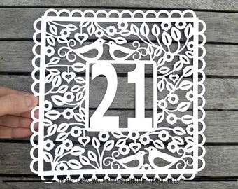 Number 21 paper cut svg / dxf / eps / files and pdf / png printable templates for hand cutting. Digital download. Small commercial use ok.