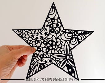 Star paper cut svg / dxf / eps / files and pdf / png printable templates for hand cutting. Digital download. Small commercial use ok
