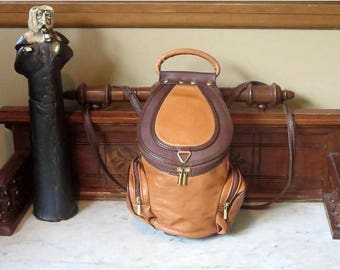 Back To School Sale Vintage VA Combination Backpack Sling Bag In Tan And Brown Leather With Brass Hardware- Made In Italy- EUC