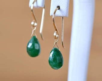 May Birthstone Genuine Emerald Earrings, Green Natural Gemstone Earrings, Leverback Earrings: 14K Gold Filled, Rose Gold, Sterling Silver