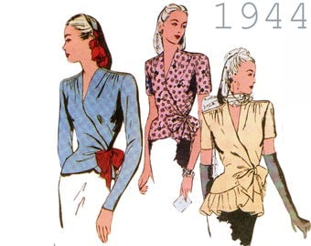 """Wrap Blouse Pattern 1940s Blouse Pattern BUTTERICK RETRO 6700 UNCUT bust 34-38"""" Vintage Blouse Surplice Blouse V-neck Blouse Shoulder Pads"""