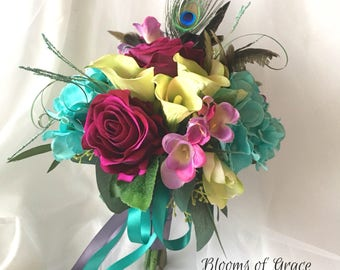 Purple Peacock Feather Bouquet Wedding