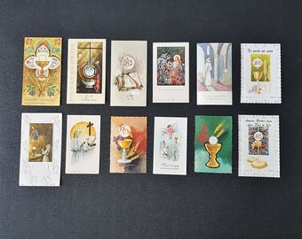 12pcs vintage french christian cards, holy cards, communion cards, religious cards, 1960's prayer cards, paper ephemera, prayer booklets