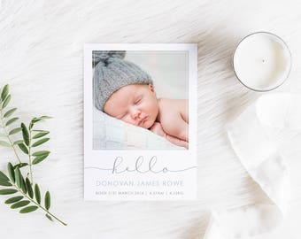 Birth Announcement Card, Printable Baby Thank You, Baby Boy Card, Photo Announcement, Free Colour Changes, 02BOY