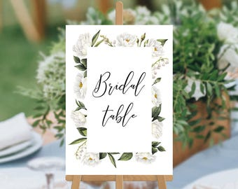 Wedding Table Numbers, Instant Download, Printable Digital Wedding, Watercolour White Florals Flowers, Wedding Table Cards, Mandy Suite