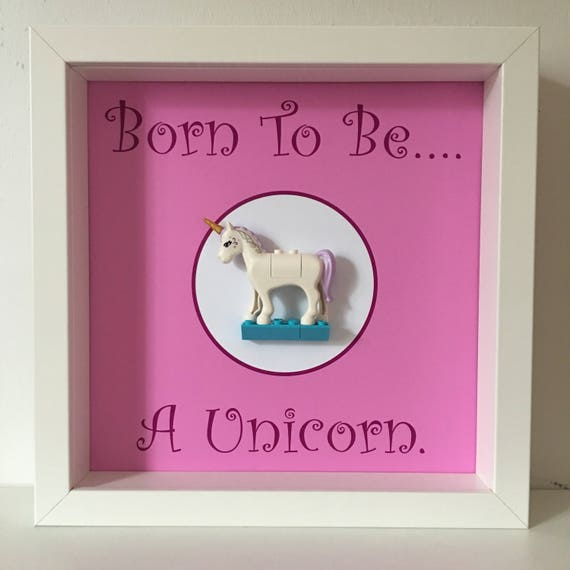 Born To Be A Unicorn Inspired Minifigure Frame, Mum, Gift, Geek, Box, Daughter, Idea, For Her, For Him, Anniversary, Comic, Lego, Rainbow