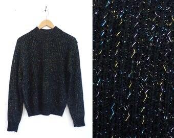 metallic sweater chunky acrylic lurex sweater mock neck turtleneck sweater 80s colorful shiny womens jumper medium