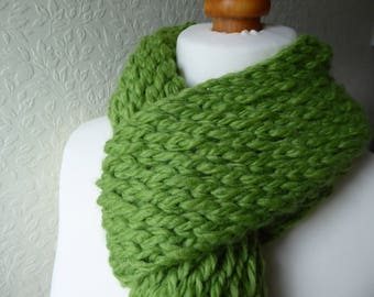 Luxury extra chunky hand knitted kiwi green fringed scarf in a premium alpaca, wool and acrylic yarn