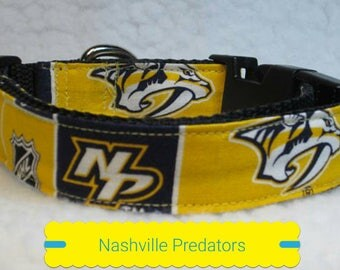 "Nashville Predators Dog Collar, Dog Collars, Side Release Dog Collar, Small Dog Collar, Large Dog Collar, Dog Collar, 1"" & 1.5"" Inches Wide"