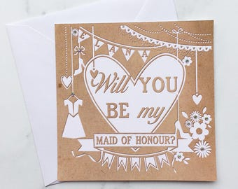 Will you be my Maid of Honour Card, Maid of Honour Card, Asking Maid of Honour Card, Bridesmaid Card, Wedding card, Wedding Icons