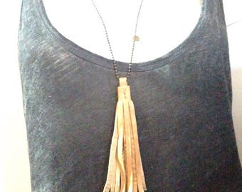 FOLK yellow leather tassel necklace