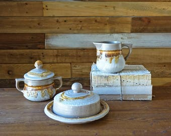 Vintage Laurentian pottery set - Tundra - Butter dish - Creamer - Sugar bowl - Made in Canada