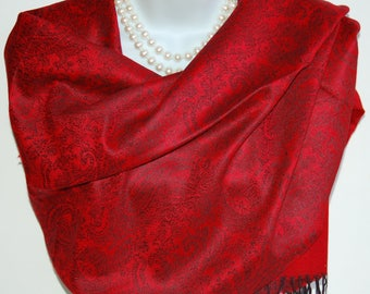 Paisley Print Pashmina Scarf.Red and Black Pashmina/Shawl.Winter Scarves.Elegant Pashmina Scarf.Evening Scarves/Shawl/Wrap.Red & Black Scarf