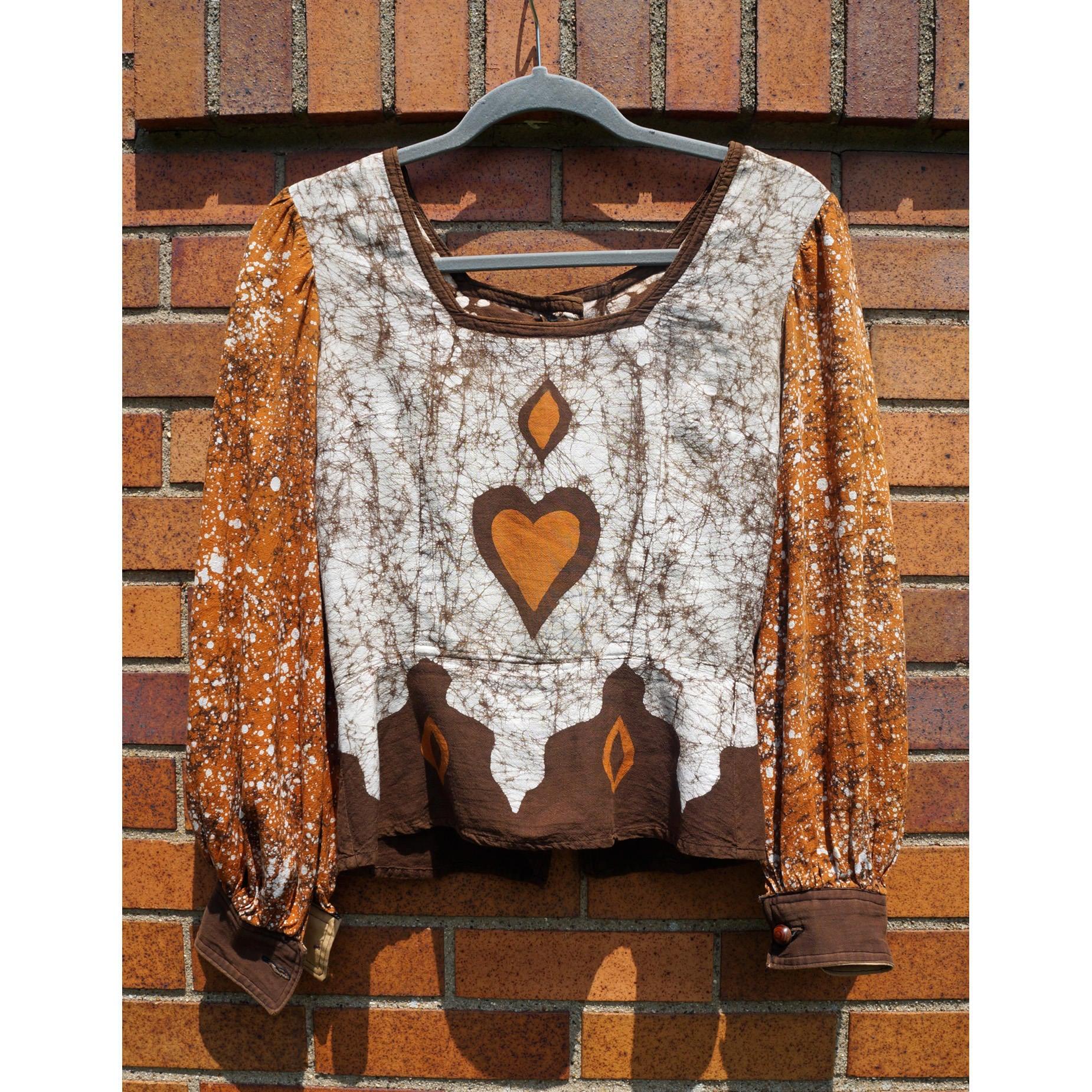 Vintge Batik Blouse Top Heart And Diamond Design Cotton