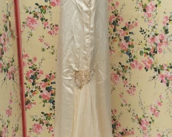 Vintage 1920's Silk Wedding Dress. Beading, Silk Net and Ostrich Feather Detail